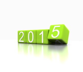 3D illustration - dice with new year 2015, green