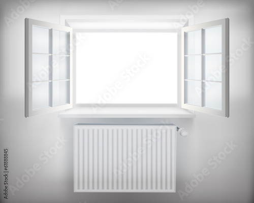 Central heating radiator. Vector illustration.