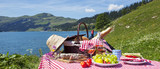 Picnic in french alps with lake - 61889417