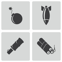 Vector black bomb icons set