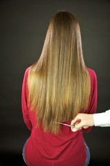 Hairstylist cutting long hair ruined split ends