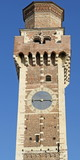 clock tower of the old church of San Felice in Italy