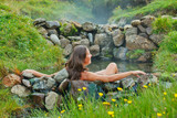 Woman in geothermal spring