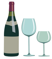 Wine Bottle and Glass - Illustration