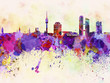 Quadro Munich skyline in watercolor background