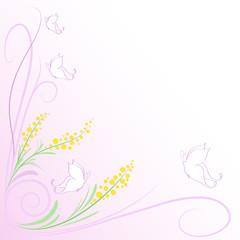 Sfondo farfalle e mimose stilizzate