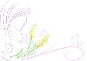 Sfondo donna mimose e farfalle