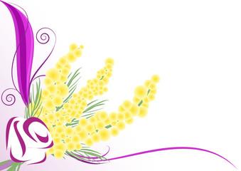 sfondo decorazione rosa stilizzata e mimose