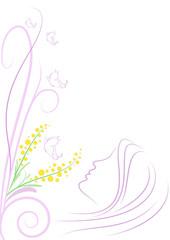 decorazione donna mimose e farfalle
