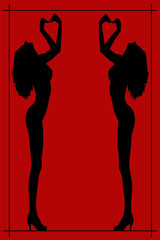 Silhouette of a nude woman poster
