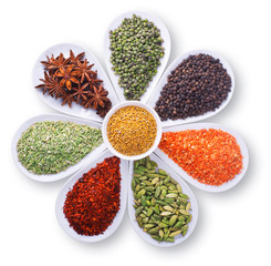 composition of spices over white