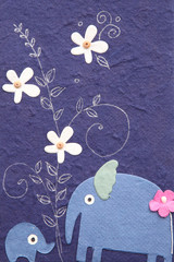 mulberry paper with elephant and flower