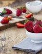 Strawberry on rustic wooden table