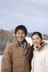 portrait of couple in winter