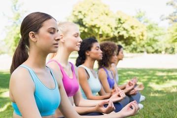 Friends meditating in lotus position