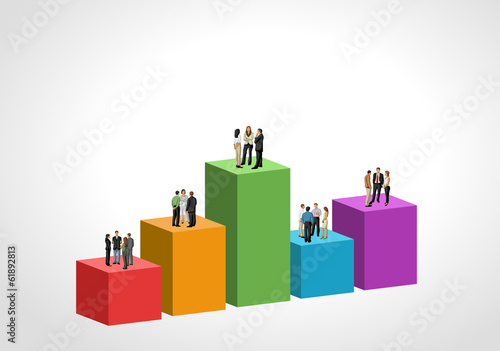 Template for brochure with business people over chart