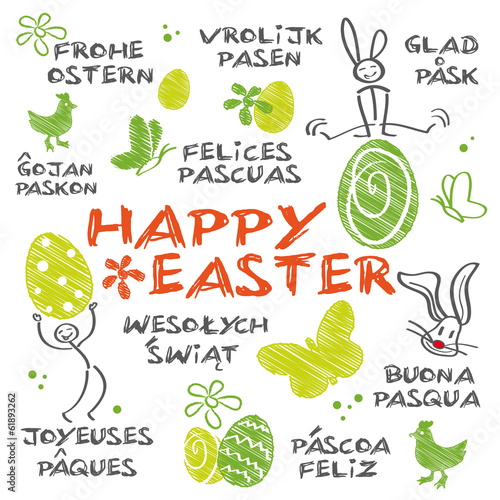 Happy Easter multilingual - 61893262