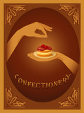 Confectionery – sign with cherry cake