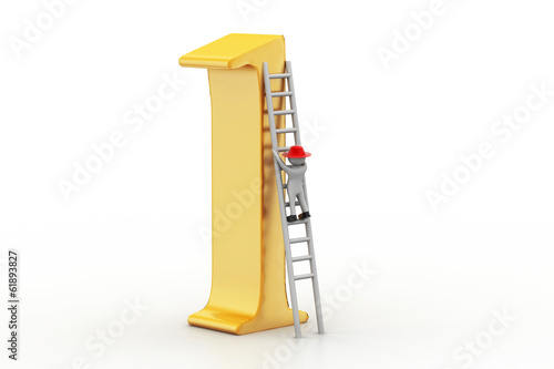 3d man climbing the high position