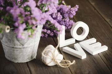 Love words and flowers