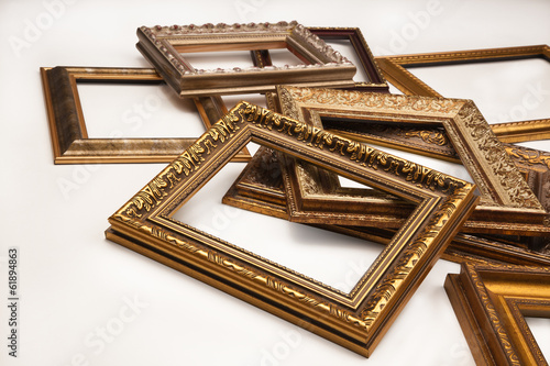 Stack of vintage frame on white background