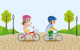 Kids riding bicycle in the park,wore Helmet