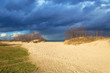 Baltic sea beach with stormy clouds, Poland