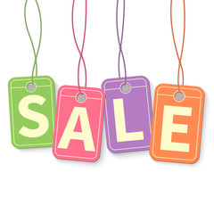 Sale tag on hanging multicolor labels