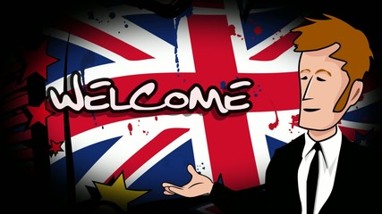 Cartoon Welcome Bienvenue Benvenuto Bienvenido Willkommen