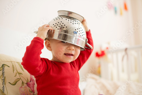 Strainer on Baby's Head