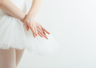 Graceful ballerina hands. Concept of lightness, beauty, grace