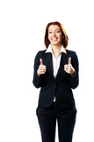 Cheerful businesswoman with thumbs up