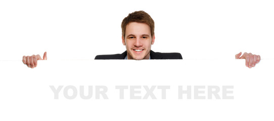 Young businessman holding a whiteboard. Concept - a demonstratio