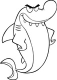 Black And White Angry Shark Cartoon Character