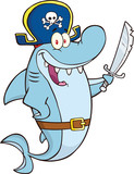 Pirate Shark Cartoon Character Holding A Sword