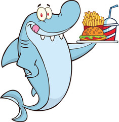 Shark Character Holding A Plate Of Hamburger And French Fries