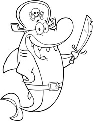 Black And White Pirate Shark Cartoon Character Holding A Sword
