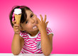 little girl eating ice cream - 61899496