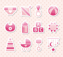 pink baby icons