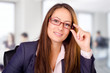 Portrait of beautiful business woman with glasses