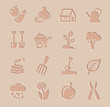 vector agriculture and farming icons set