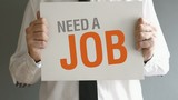 Businessman needs job. Man holding board with title NEED A JOB