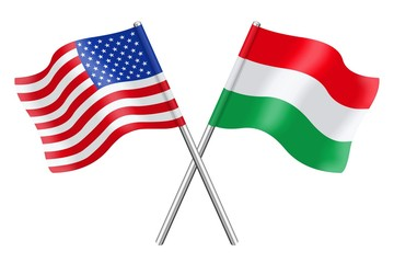 Flags: United States and Hungary