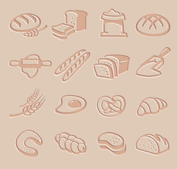 vector bread icon set