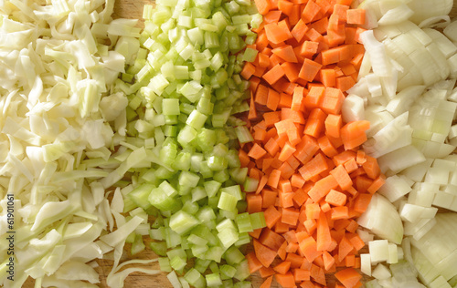 Diced fresh vegetables