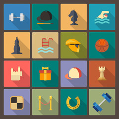 set of sixteen sport icons in flat design style