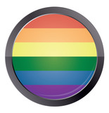 Round button with rainbow flag