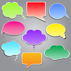Set of talking clouds