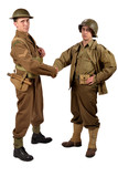 an English soldier and an American soldier shake hands