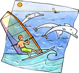 Windsurfing with dolphins